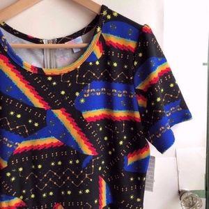 NEW LULAROE Amelia Outer Space Stars Sun Dress XL